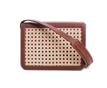 Handbag with rattan covered lid
